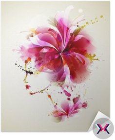 Plakát Pixerstick Krásné módní ženy s abstraktním vlasy a designových prvků