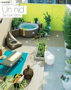 Idée dintégration jacuzzi sur la terrasse - via catalogue leroy merlin jardin 2015 Outdoor Rooms, Outdoor Gardens, Outdoor Living, Outdoor Furniture Sets, Outdoor Decor, Roof Gardens, Garden Deco, Terrace Garden, Terrace Design