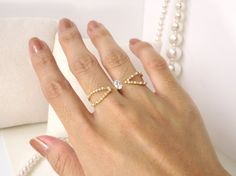 Pearl Two finger ring between the finger ring by SmallTalkJewelry