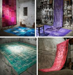 Over-dyed vintage carpets....such cool upcycling. These are stunning and have taken a traditional piece and made it feel current and fresh.