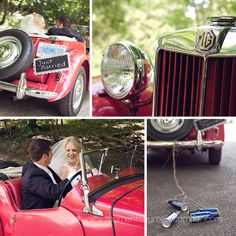 Hamilton ON Wedding  The Ancaster Old Mill  red vintage car  bride and groom  cans/bottles tied to car  just married sign