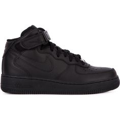 Nike Air Force 1 Sneakers (1.590 ARS) ❤ liked on Polyvore featuring shoes, sneakers, nike, tenis, black, velcro sneakers, leather flat shoes, perforated leather sneakers, black leather shoes and black leather sneakers
