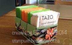 Envelope tea bag caddy holds 21 tea bags - a great gift see video http://m.youtube.com/watch?feature=c4-feed-u&v=BDz_k8eKEBE