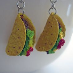 Mini Food Jewelry  Taco Dangle Earrings  Surgical by Artwonders, $12.00