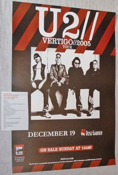 """U2 Vertigo Tour poster concert $9.84  Saw this concert from the rafters of Time Warner Arena in Charlotte with the ex...he took me backstage during """"40"""" and I got to see them all get into their limo. Bono is tiny!"""