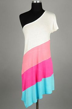 *** New Style *** Stripe Jersey One Shoulder Dress with Cap Sleeves and Relaxed Flare Silhouette.