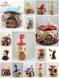 Hello, in this tutorial I show you how I made a fairy house lamp using nothing but coca cola plastic bottles, tin foil, paint, hot glue and paper clay Polymer Clay Fairy, Polymer Clay Crafts, Polymer Clay Creations, Clay Fairy House, Fairy Houses, Insect Hotel, Clay Houses, Ceramic Houses, Fairy Crafts