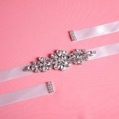 Diamond Hand Wedding Dress Belt SashBelt Satin by Marrymanor