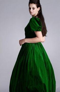 oversized Puff Slv velvet green V-Neck Slim dress TE039 plus size1x-10x(16-52)