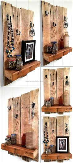 Recycled Wooden Pallet Shelf with Rustic Look-- me: put shelf on top