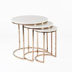 Modern Golded Reden Nesting Tables with Marble Tops