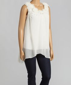 Take a look at the Ivory Ruffle Sleeveless Top on #zulily today!