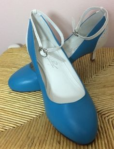 Shoes Of Prey Womens Size 37.5 (US 7) Blue White Kitten Heel Strappy #ShoesofPrey #Strappy #Casual