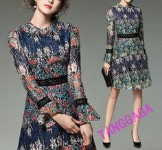 Fashion Womens Floral Dress Slim Fit Flowers Printing Lace A-Line Dresses Casual