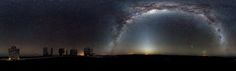 The Milky Way arches across this rare 360-degree panorama of the night sky above the Paranal platform, home of ESO's Very Large Telescope. The image was made from 37 individual frames with a total exposure time of about 30 minutes, taken in the early morning hours. The Moon is just rising and the zodiacal light shines above it, while the Milky Way stretches across the sky opposite the observatory.