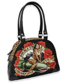 Double Trouble Handbag Retro Tattooed Lady Pinup Rockabilly Leopard Print http://www.inkedboutique.com