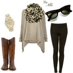 comfy and cute #boots #brown #shirt #leopard #scarf #pants #leggings #sunglasses #watch #earrings #comfy #casual #fancy #nice #clothes