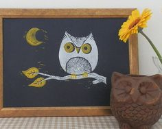Night Owl Lino Print on Etsy, $25.21
