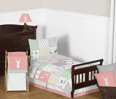 Woodsy Coral, Mint and Grey Toddler Bedding Collection (Woodsy-CR-MT-Tod)