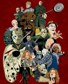 'Friday the history of Jason Voorhees by Steve Mcginnis -CREEPER- Horror Icons, Horror Movie Posters, Horror Movies, Horror Art, Funny Horror, Jason Voorhees, Rue Sainte Catherine, Horror Photos, Costumes
