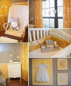 vintage charm, rustic yet modern, fresh grey & yellow nursery