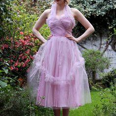 Kleid Tüll Rosa 1950er, 145€, jetzt auf Fab.