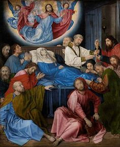 The Death of the Virgin - Hugo van der Goes.  c.1472-80.  Oil on wood.  147.8 x 122.5 cm.  Groeningemuseum, Bruges, Belgium.