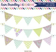 Purple Blue & Green Banner Flag Bunting Commercial Use Clipart Graphics Instant Download