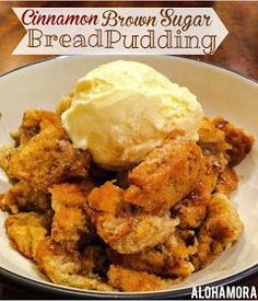 Cinnamon Brown Sugar Bread Pudding is easy to make and uses your leftover breads, hamburger or hot dog buns, or any old leftover bread. Rich delicious flavor to enjoy for breakfast or dessert. Alohamora Open a Book www. Leftover Bread Recipes, Leftovers Recipes, Leftover Bread Pudding Recipe, Easy Bread Pudding, Dog Recipes, Cooking Recipes, Recipies, Easy Recipes, Hamburger Bun Recipe