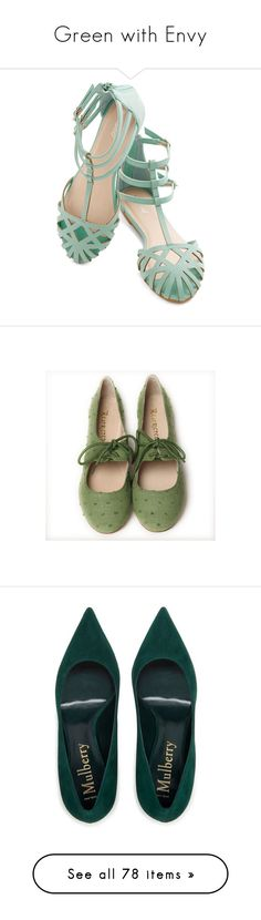 """""""Green with Envy"""" by rastaress-motso ❤ liked on Polyvore featuring shoes, sandals, sapatos, mint, slingback, beach sandals, mint flats, floral flats, slingback flats and embellished sandals"""
