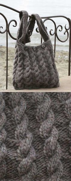 Free Knitting Pattern for a Cable Handbag The Seafarer. Free Knitting Pattern for a Cable Handbag The Seafarer. Loom Knitting, Knitting Stitches, Knitting Patterns Free, Free Knitting, Knitted Bag Patterns, Designer Knitting Patterns, Beginner Knitting, Sweater Patterns, Stitch Patterns