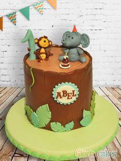 Jungle birthday cake https://www.facebook.com/GloriaCakes www.gloriacakes.com #birthdaycake #elephant #monkey
