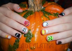 Halloween Nails for my little sister! pumpkin, ghost, candy corn, eyes, jackolantern, misty graveyard, minecraft creeper :-) Just the Tip Nail art by Alayna Josz www.facebook.com/ladyalaynanailart instagram.com/ladyalayna  #SephoraNailSpotting #nailitdaily #nailart #nailartaddict #nailswag #NOTD #nailporn #nailgasm #ilovenails