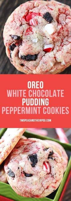 Oreo White Chocolate Pudding Peppermint Cookies are always a favorite Christmas . - Cookies and Brownies - Oreo Cookies Oreo, Chocolate Chip Pudding Cookies, Peppermint Cookies, Holiday Cookies, Peppermint Chocolate, Cookies Soft, Chocolate Chips, Oreo Pudding, Köstliche Desserts