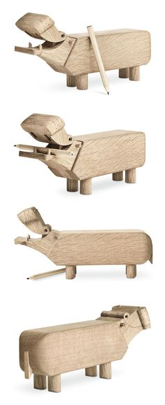 Wooden Toy Hippo