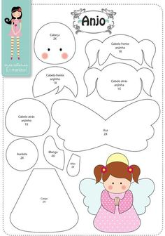 Easy DIY Felt Crafts, Felt Crafts Patterns and Felt Craft Tutorial Pdf. Felt Patterns, Applique Patterns, Stuffed Toys Patterns, Craft Patterns, Felt Diy, Felt Crafts, Felt Christmas Ornaments, Christmas Crafts, Felt Angel