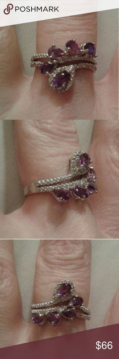 1.05CTTW Amethyst & Genuine Diamonds Ring, 925SS New...Beautiful, 1.05CTTW, Purple Amethyst and Genuine Diamond Ring Set in Solid 925 Sterling Silver, Size 9...Comes With a Packaged, Anti- Tarnish, Polishing Cloth. Fine Jewelry Jewelry Rings