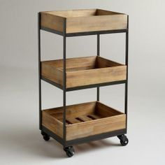 3-Shelf Wooden Gavin Rolling Cart