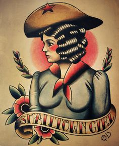 Cowgirl Traditional Tattoo Flash by ParlorTattooPrints on Etsy, $14.99