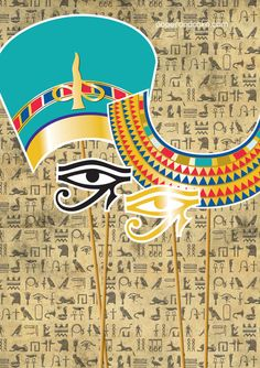 Egyptian King Tut and Queen Nefertiti Printable PHOTOBOOTH PROPS - EDITABLE Text Instant Download