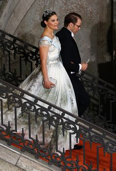 Crown Princess Victoria of Sweden and her husband Prince Daniel of Sweden depart the royal wedding of Prince Carl Philip of Sweden and Sofia Hellqvist at The Royal Palace on June 13, 2015 in Stockholm, Sweden.