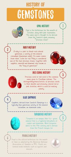 Gemstones have captured the imagination of humans for thousands of years. all these gemstones we so greatly admire & treasure have been credited with powers of protection, healing and wisdom. Read this creative infographic to know more about the history of gemstone.