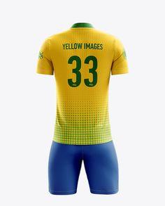 Men's Full Soccer Kit with Mandarin Collar Shirt Mockup (Back View). Preview (Close-Up)