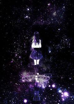 anime girl, galaxy, and long hair image