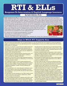 RTI & ELLs: Response To Intervention & English Language Learners - National Professional Resources, Inc. English Language Learners, Spanish Language Learning, Learning English, Response To Intervention, No Response, Reading Intervention, Ell Strategies, Teaching Strategies, Teaching Tips