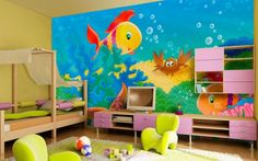 Sea worlds boys bedroom painting wall murals ideas best wall murals