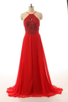 Chiffon Long Prom Dress,Red Chiffon Backless Prom Dress,Evening