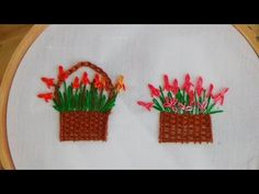 Hand Embroidery: Flower Basket Stitch - YouTube