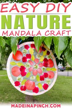 This DIY Nature Mandala Craft is a fabulous opportunity to get kids outside! Kids will love searching for leaves, flower petals, and other outdoor treasures that they can use to create this meaningful circle craft. A mandala is a geometric arrangement of symbols. The purpose of the mandala is to help transform our minds and to assist with self-healing. | @made_in_a_pinch #mandala #bestdiycrafts #naturecrafts #diymandala Girl Scout Activities, Autumn Activities For Kids, Kids Learning Activities, Summer Activities, Family Activities, Easy Crafts For Kids, Toddler Crafts, Kids Craft Projects, Art Projects