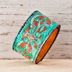 Springtime+Cuff+Leather+Bracelet+Turquoise+Jewelry+by+rainwheel,+$50.00